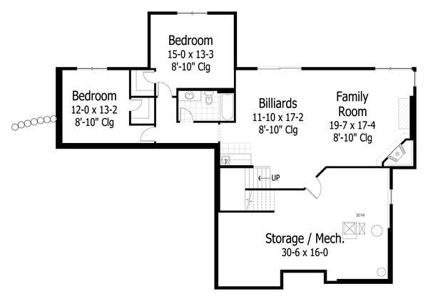 Craftsman style house plan, lower level floor plan