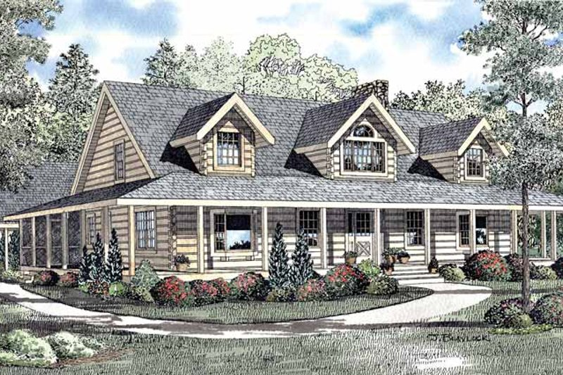 Log Exterior - Front Elevation Plan #17-3054