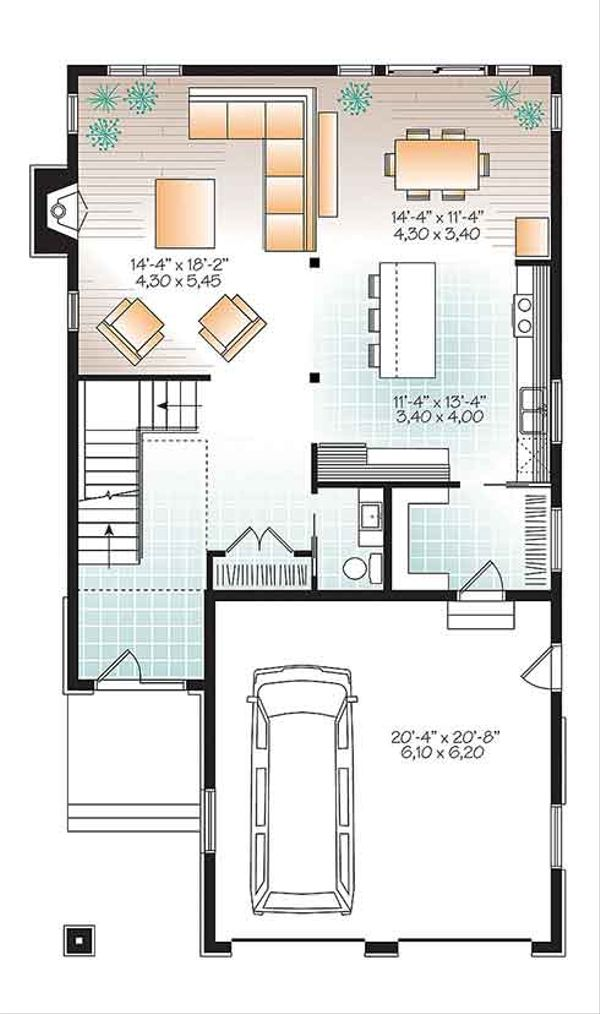Contemporary Floor Plan - Main Floor Plan Plan #23-2608