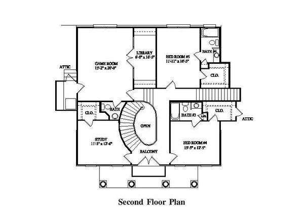 Colonial Style House Plan - 7 Beds 5 Baths 4623 Sq/Ft Plan #325-227 Floor Plan - Upper Floor Plan