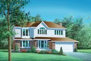 Traditional Style House Plan - 4 Beds 2.5 Baths 2983 Sq/Ft Plan #25-2219 Exterior - Front Elevation