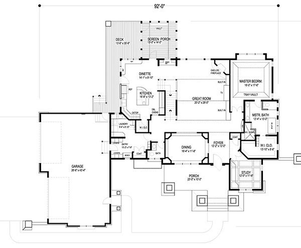 Craftsman Floor Plan - Main Floor Plan Plan #56-592