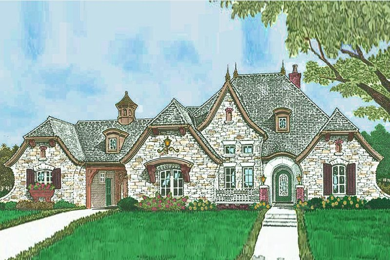 European Exterior - Front Elevation Plan #310-1302