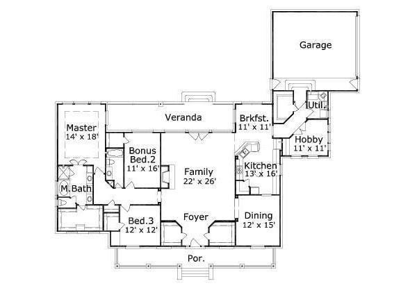 Traditional Floor Plan - Main Floor Plan Plan #411-743
