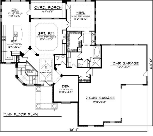Ranch Floor Plan - Main Floor Plan Plan #70-1067