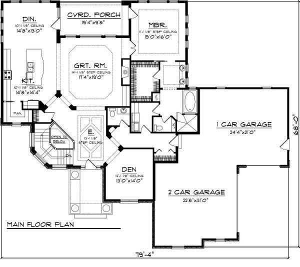 Ranch Floor Plan - Main Floor Plan Plan #70-1067