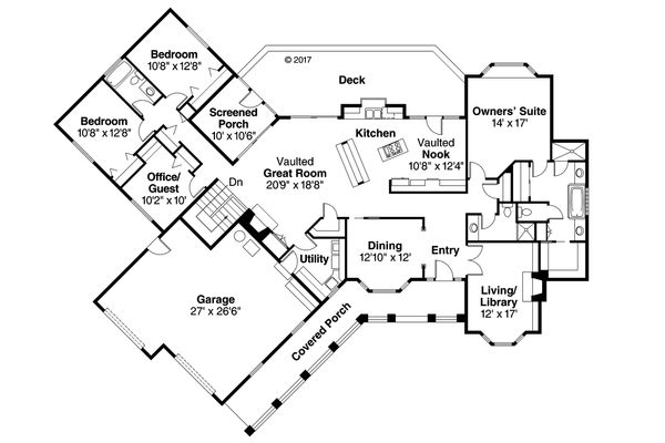 Ranch Floor Plan - Main Floor Plan Plan #124-188