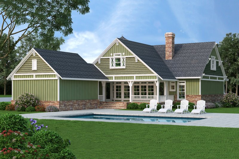 Craftsman Exterior - Rear Elevation Plan #45-377 - Houseplans.com