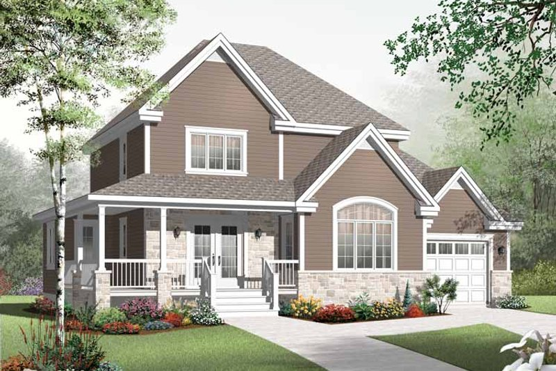 Country Exterior - Front Elevation Plan #23-2555