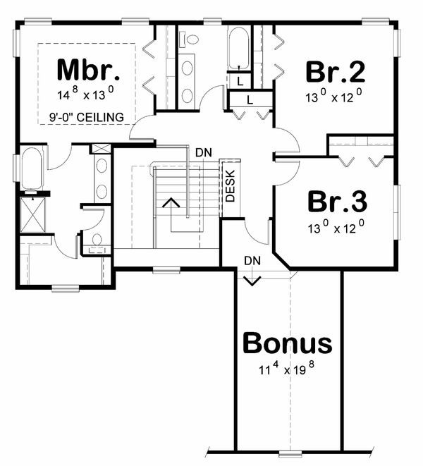 Traditional Floor Plan - Upper Floor Plan Plan #20-2185