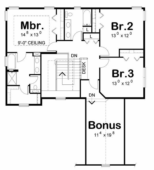 Home Plan - Traditional Floor Plan - Upper Floor Plan #20-2185