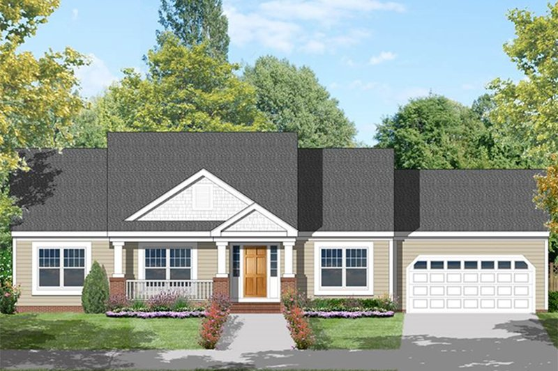 Country Exterior - Front Elevation Plan #1053-19 - Houseplans.com