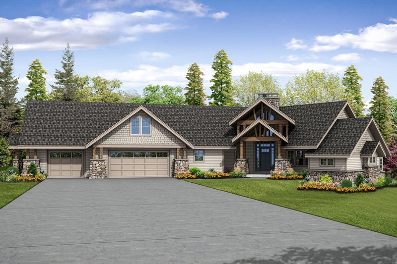 Architectural House Design - Craftsman Exterior - Front Elevation Plan #124-1042