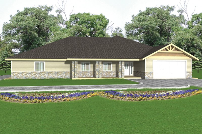 Ranch Exterior - Front Elevation Plan #117-852 - Houseplans.com