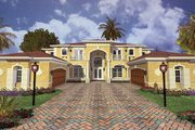 Mediterranean Style House Plan - 5 Beds 5 Baths 5754 Sq/Ft Plan #420-179 Exterior - Front Elevation