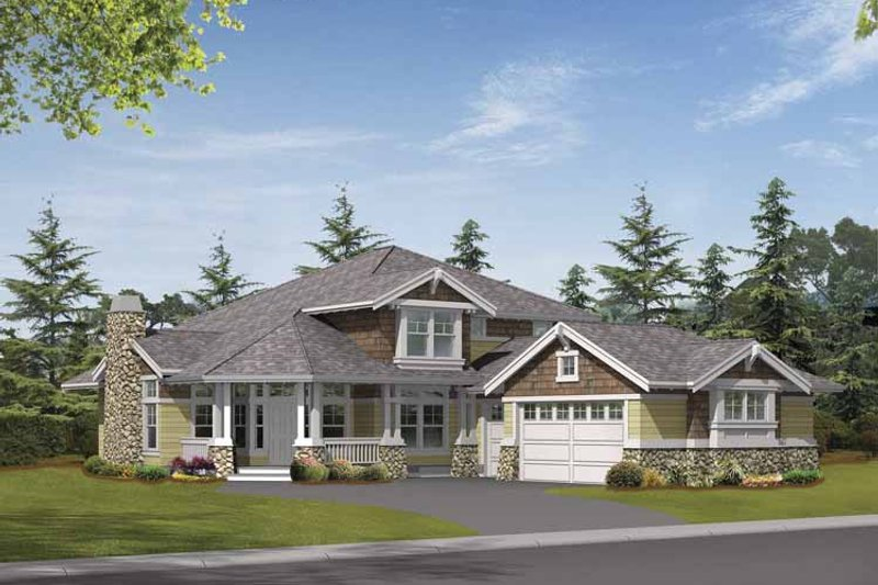 Craftsman Exterior - Front Elevation Plan #132-372