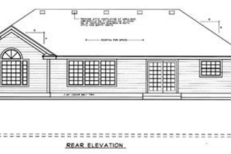 Traditional Exterior - Rear Elevation Plan #93-102 - Houseplans.com
