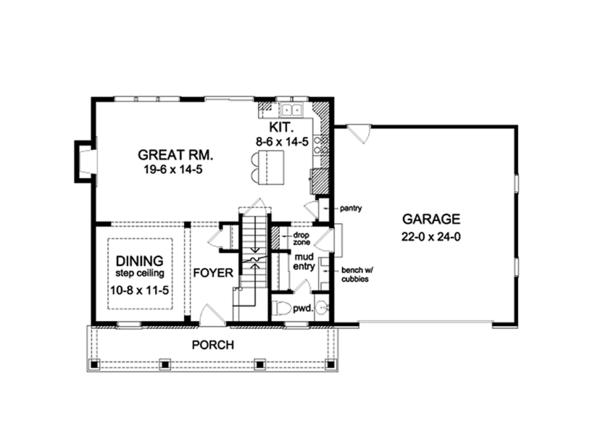 Colonial Floor Plan - Main Floor Plan Plan #1010-113