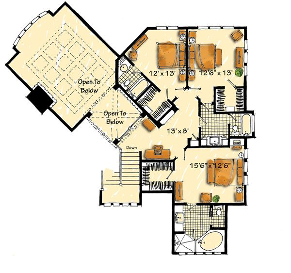 Home Plan - Craftsman Floor Plan - Upper Floor Plan #942-16