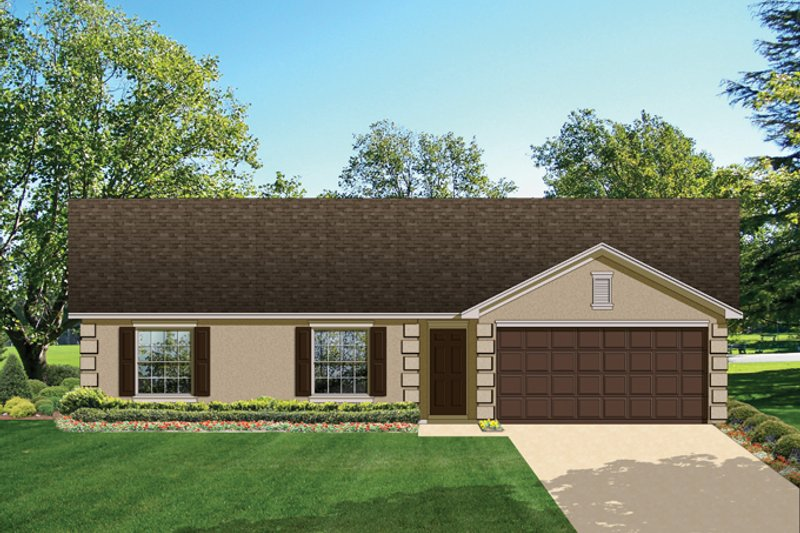 Ranch Exterior - Front Elevation Plan #1058-30