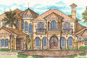 Mediterranean Style House Plan - 5 Beds 5 Baths 6524 Sq/Ft Plan #135-160 Exterior - Front Elevation