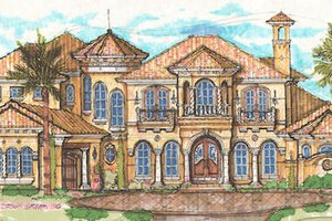 Mediterranean Exterior - Front Elevation Plan #135-160