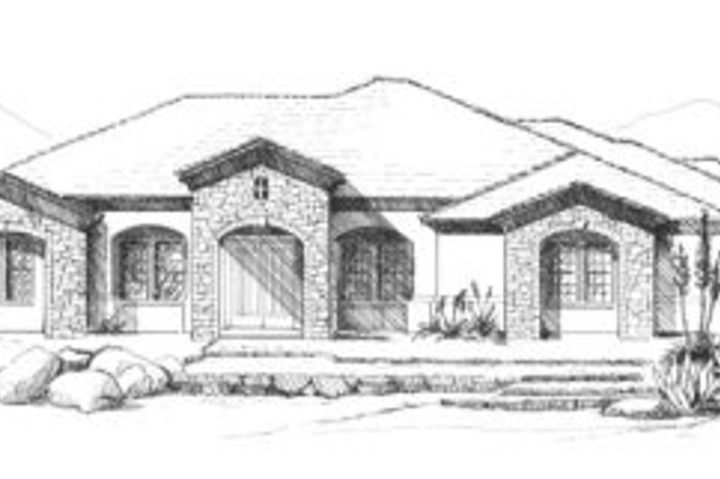 Mediterranean Style House Plan - 3 Beds 2.5 Baths 3250 Sq/Ft Plan #4-193 Exterior - Front Elevation