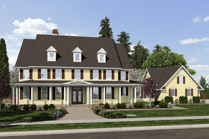 Colonial Exterior - Front Elevation Plan #48-663