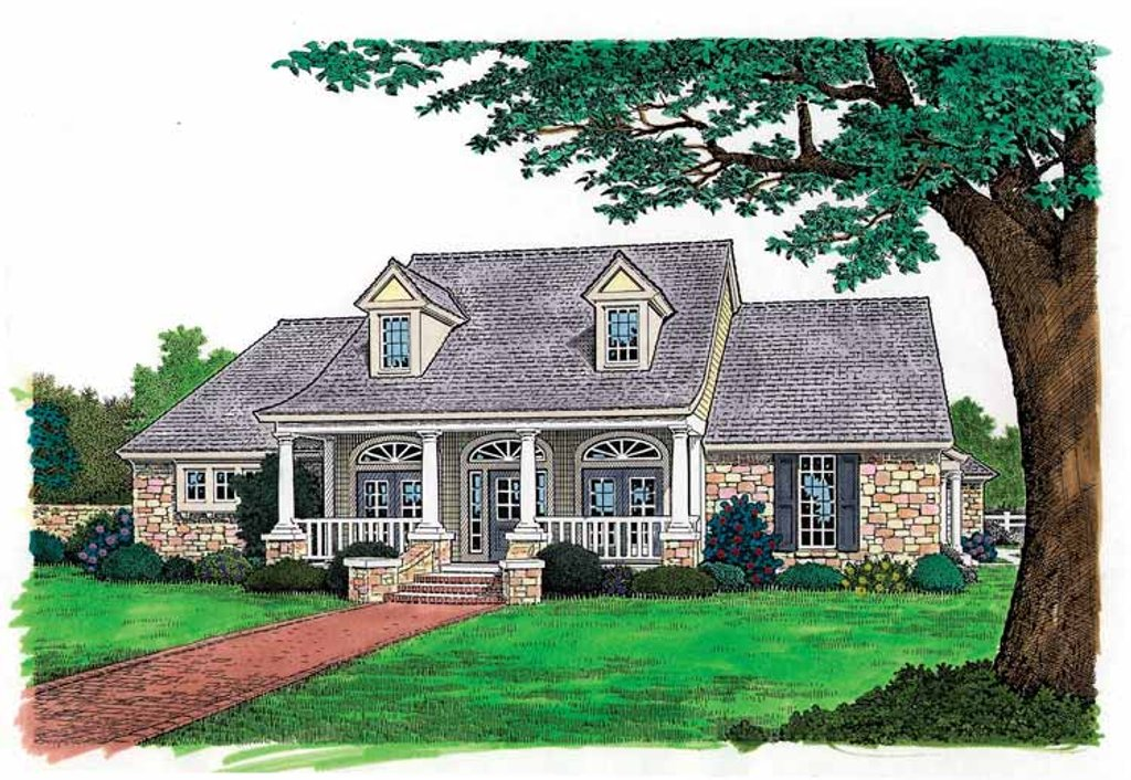 Colonial Exterior Front Elevation Plan 310 1116