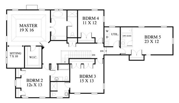 Traditional Floor Plan - Upper Floor Plan Plan #1053-59