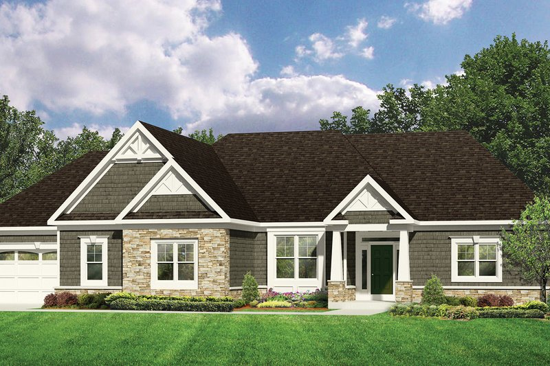 Craftsman Exterior - Front Elevation Plan #1010-111