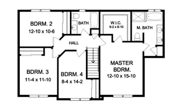 Colonial Floor Plan - Upper Floor Plan Plan #1010-90