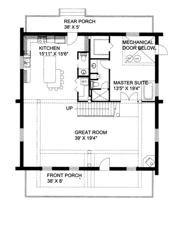 House Plan Design - Log Floor Plan - Main Floor Plan #117-822