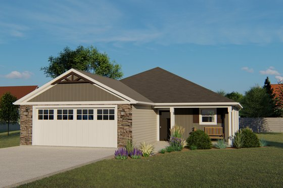 Ranch Exterior - Front Elevation Plan #1064-40