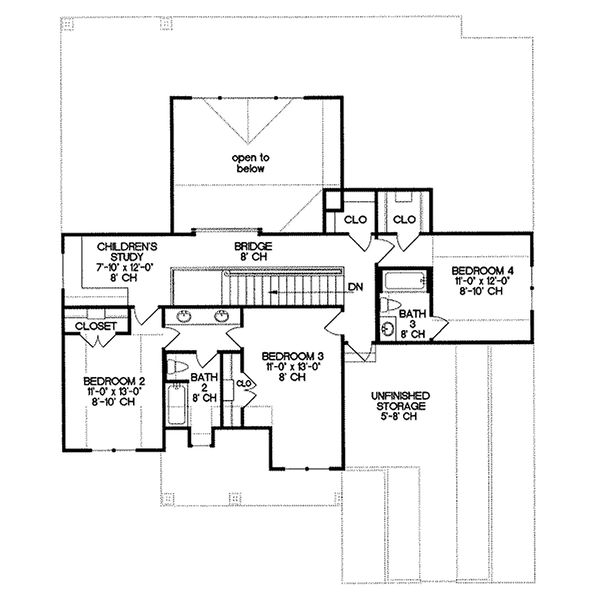 Traditional house plan, Craftsman details, floorplan