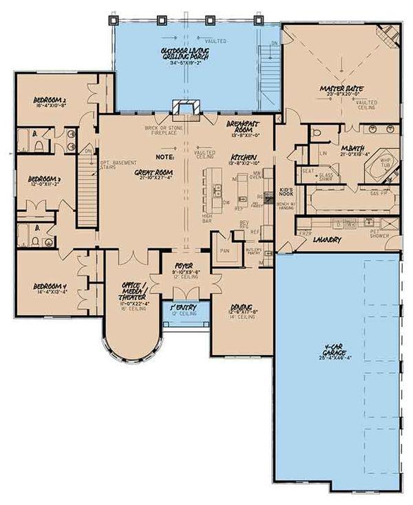 European Floor Plan - Main Floor Plan Plan #17-3373