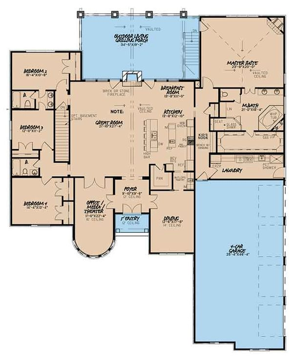 European Floor Plan - Main Floor Plan Plan #17-3373