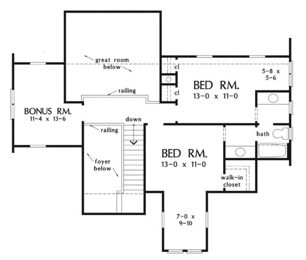 Craftsman Floor Plan - Upper Floor Plan Plan #929-917