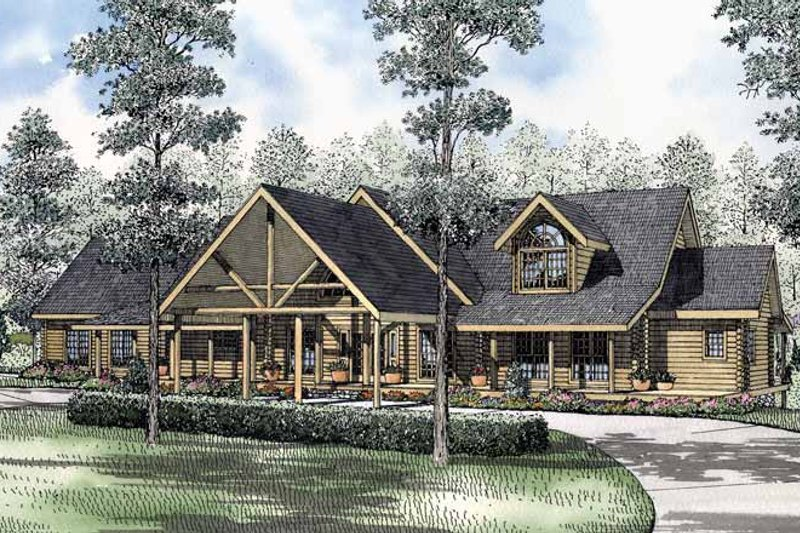 Log Exterior - Front Elevation Plan #17-2965