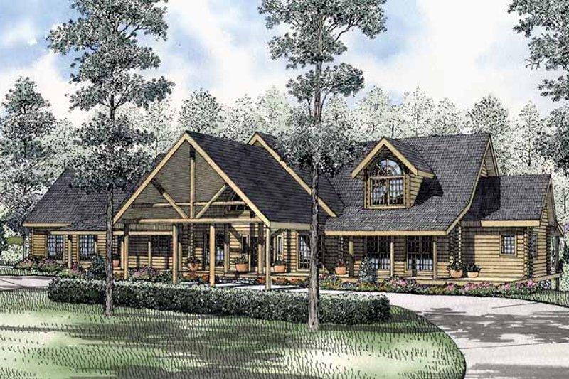 Log Exterior - Front Elevation Plan #17-2965 - Houseplans.com
