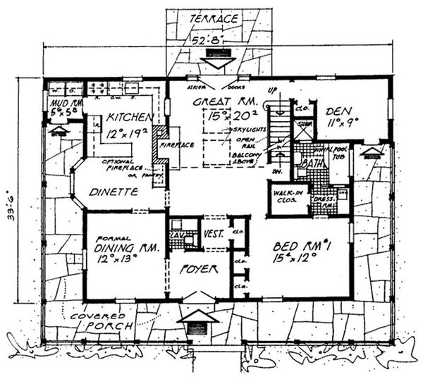 Country Floor Plan - Main Floor Plan Plan #315-107