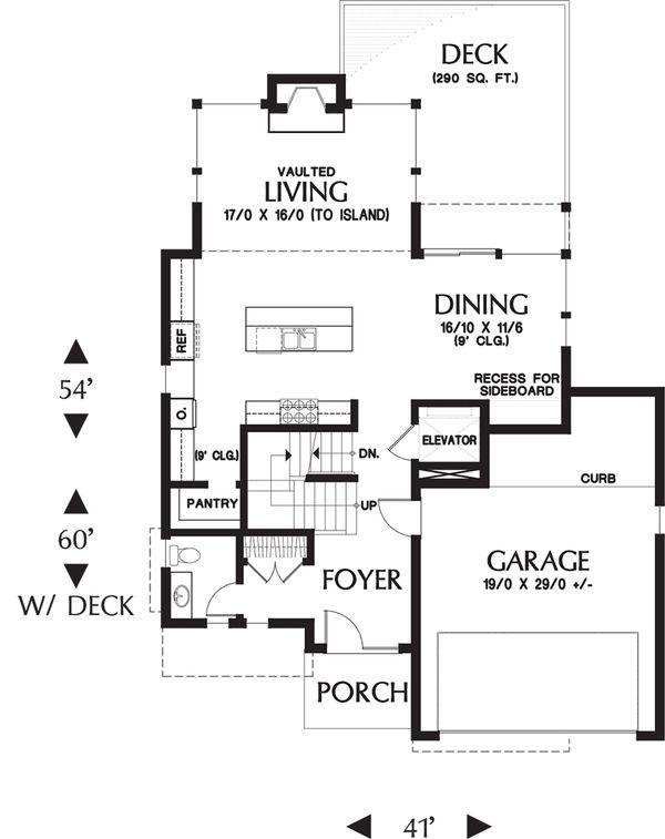 Contemporary Floor Plan - Main Floor Plan Plan #48-656