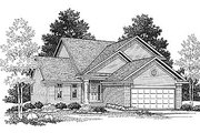 Traditional Style House Plan - 3 Beds 2 Baths 1387 Sq/Ft Plan #70-124 Exterior - Front Elevation