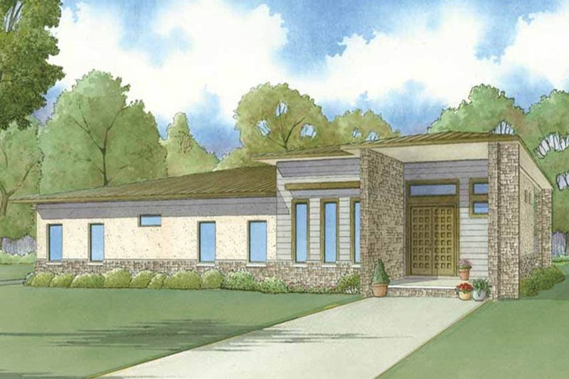 Contemporary Exterior - Front Elevation Plan #923-54 - Houseplans.com