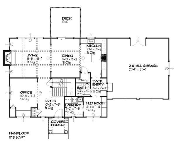 Colonial Floor Plan - Main Floor Plan Plan #901-27