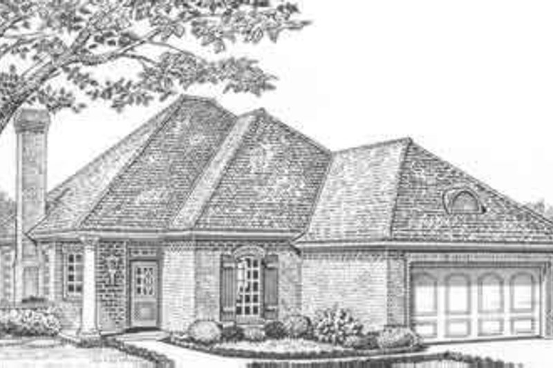 European Style House Plan - 3 Beds 2 Baths 1691 Sq/Ft Plan #310-421 Exterior - Front Elevation