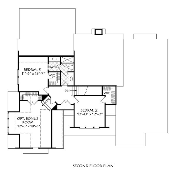 Farmhouse Floor Plan - Upper Floor Plan Plan #927-1007