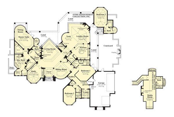 Mediterranean Floor Plan - Main Floor Plan Plan #930-190