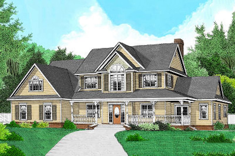 Farmhouse Style House Plan - 4 Beds 2.5 Baths 2305 Sq/Ft Plan #11-227 Exterior - Front Elevation