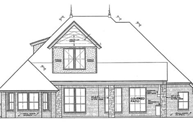 Country Exterior - Rear Elevation Plan #310-1273 - Houseplans.com